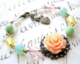 Pastel Bridesmaid Bracelet Maid Of Honor Gift Peach Flower Bracelet Sister In Law Gift Romantic Wedding Jewelry Mother Of The Groom Bracelet