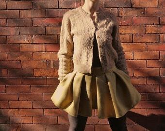 Vintage Mustard Yellow Pleated Skirt~Herringbone Skirt~Mini Skirt~Casual Skirt~Skirt with Pockets~Retro Skirt~Plus Size Skirt~Circle Skirt~
