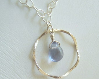 Silver ruffled circle Necklace with Blue Fluorite stone