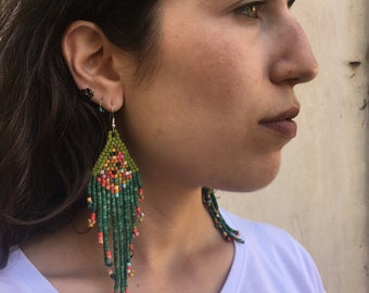 Beaded Earrings - Handmade with Ceramic Beads - Dangle - Purple and Green Multicolored