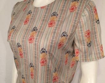 Vintage Medium M 70s Seventies Mod Flower White Red Yellow Blue Short Sleeve Zip Back Blouse Shirt