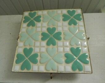 Mid Century Standing Tile Trivet - 1960s Footed Kitchen Tile Hot Plate Holder - Teal / White Tile Trivet - Mid Century Modern Kitchen Decor