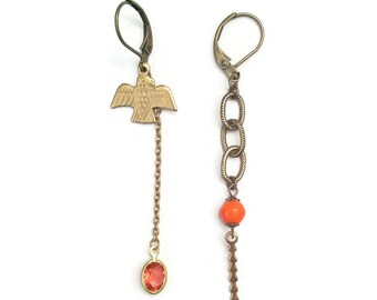 Mismatched Earrings - Inspired Asymmetric - Orange and Gold Vintage Eagle Findings - Eagle - Totem Earrings (SD968)