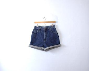 Vintage 80's Lee high waisted shorts, dark blue denim, jean shorts, size 12 / 10