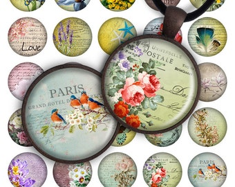 75% OFF SALE Cute Flowers - Digital collage printable download 25mm 20mm circle 1 inch image for pendants glass charm resin magnets jewelry