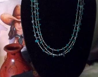 LIght Weight  Liquid Sterling Silver  and Turquoise Southwest Three Strand Necklace
