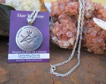 Star Wisdom~LEO Zodiac Pendant~Christopher Penczak Temple of Witchcraft~Fine Pewter~Chain Included