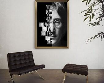 John Lennon Imagine - John Lennon Poster - Song Lyric Art - Music Poster - Wall Art - Black and White Art - Custom Lyrics Print
