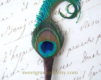 Peacock Boutonniere - PANACHE in BROWN - Wedding Peacock Wedding Pin Buttonaire