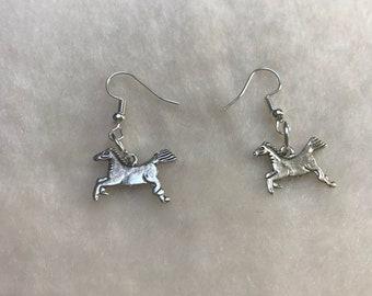 Race Horse Earrings, Race Horse Jewelry, Equine Earrings, Equine Jewelry, Gift for Horse Lover, Pony Earrings, Equestrian Earrings