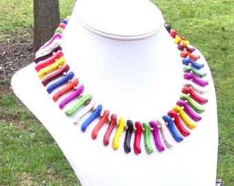 Rainbow Necklace Colorful Necklace Colorful Spike Necklace Multicolor Ethnic Necklace Rainbow Turquoise Necklace Chunky Tropical Necklace