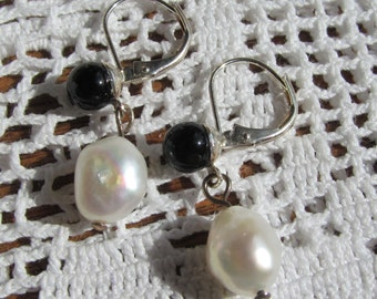 Swarovski Black Onyx Half-drilled Rounds, Baroque Pearls, Silver-plated Earrings