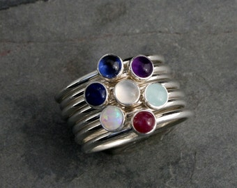 Gemstone Birthstone Stacking Rings Sterling Silver Custom Personalized 4mm Jewel Stackable Birth Stone Set May Gem Mother's Day Gift Ring