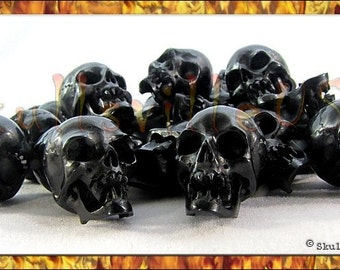 Vampire Skull Beads - Individually Hand-carved From Water Buffalo Horn