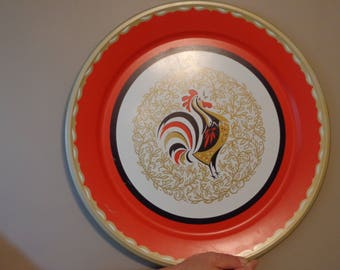 Vintage 50's 60's Large Rooster Tray
