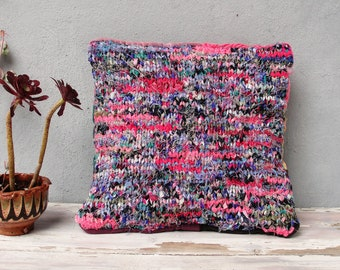 Hand Knitted Pillow Cushion, Zero Waste Pillow, Eco Friendly, Couch Cushion, Global Textile 16 X 16 inches, Magenta, pink, black, purple