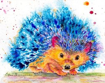 hedgehog: woodland nursery art prints watercolor prints nursery art nursery prints kids room decor kids wall art hedgehog art