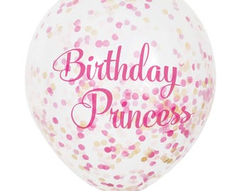 6 CT Birthday Princess Balloons/ Birthday Princess Confetti Balloons/ Pink and Gold Confetti Party Balloons/ Birthday Girl Confetti Balloons