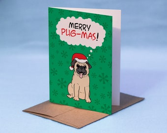 Pug Christmas Card - Merry Pug-Mas! Cartoon Pug Christmas Card - Dog Christmas Card - Pug Greeting Card - Dog Holiday Card