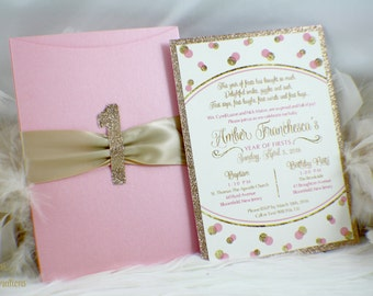 A Year of Firsts | 1st Birthday invitation | First birthday | Pink and Gold | Polkadots | Glam | Sparkle | Glitter | One | Glitz | Birthday