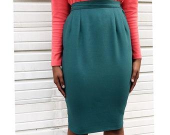 80's Jade High Waist A-Line Skirt