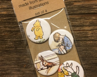 Classic Pooh Magnet Set of 4 / Upcycled / Recycled / Awesome