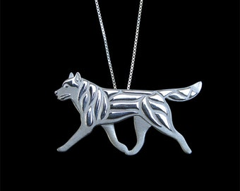 Siberian Husky movement with A trailing tail - sterling silver pendant and chain.