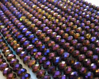 1 Strand Deep Violet - Golden Vitrail - 8 mm Crystal Cushion Beads