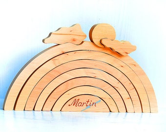 Personalized wood stacking toy Big rainbow, Wood balancing rainbow stacker blocks Wooden waldorf and montessori inspired puzzle, Wood puzzle