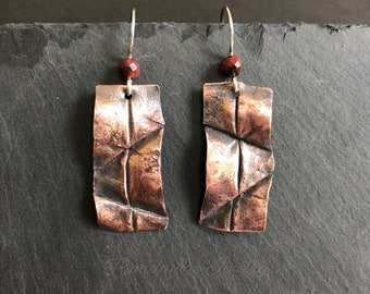 Tiger's Eye and Form Folded Copper Earrings