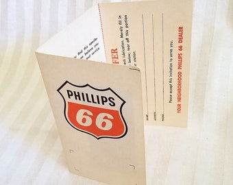 Vintage Phillips 66 Sewing Kit Advertisement Needles & Threader Ad Give Away Plus Special Offer Bumper Card, Petronalia Ephemera needle-pack