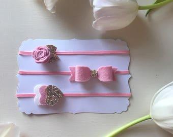 Set of headbands, newborn baby, bow, dainty flower, hearts
