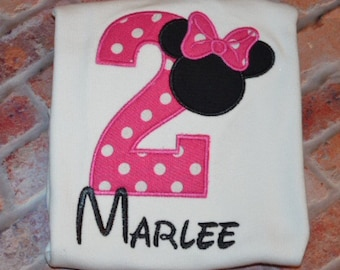 Embroidered Minnie Mouse Birthday Shirt