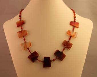 Fire Agate, Carnelian, and Goldstone Beaded Single Strand Necklace