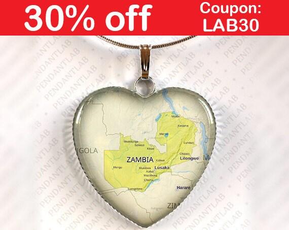 Zambia Map Pendant Necklace Jewelry Charm Gift Heart