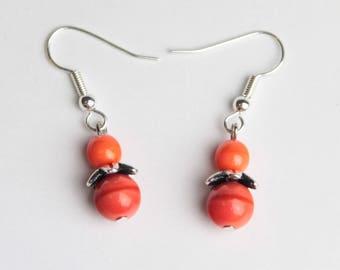 Simple coral color earrings