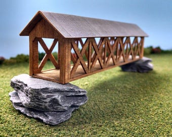 Train Time Laser N Scale Covered Bridge Building Kit