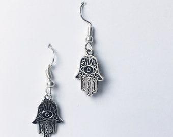 fake antique silver turkish eye earrings