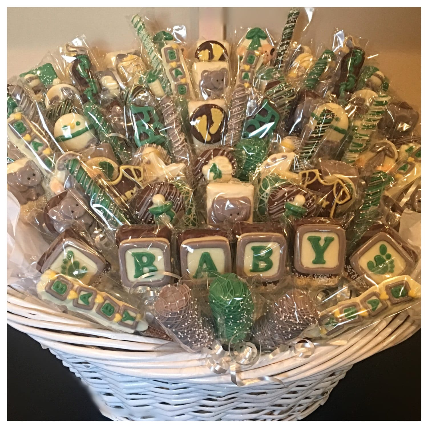 Elephant theme baby shower chocolate basket commack or carle request a custom order and have something made just for you negle Choice Image