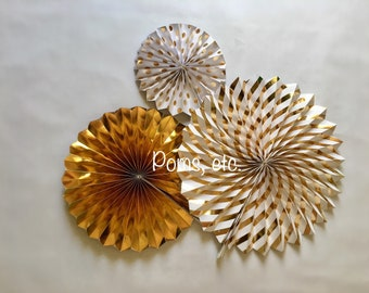 Gold paper fan set of 3, polka dot, striped, solid, hanging fans, paper fans, metallic gold