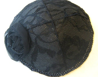 Ladies Lace Kippah with Flower Silver,Pink, Navy, Ivory, Black or Taupe Special Occasion Bat Mitzvah Wedding
