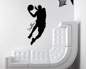 Personalised Name Decal: Basketball Dunk (1.8M), Wall Decoration, Vinyl Print Stickers