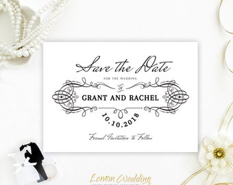 Simple and elegant save the dates | Black and white wedding save the date invitations | Vintage save the dates printed