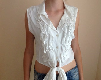 White Sleeveless Ruffle Top Crop Top Frill Front Blouse Small