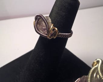 Wire Wrapped Amethyst Crystal Point Ring / Size 5 / Copper Wire; Gun Metal and Gold / Weaved Band, Front Coils, Heady  Ethereal Opus Design