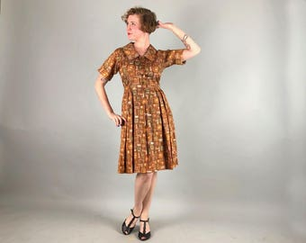 Vintage 1950s Dress | 50s Tawny Brown & Orange Picture Frame Novelty Print Short Sleeve Shirtwaist Day Dress | Medium Large