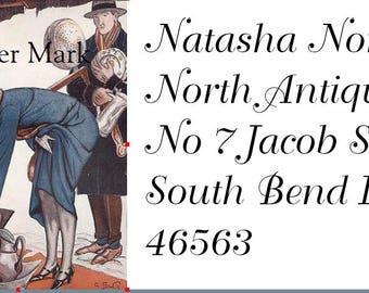 Return  address labels self adhesive*18 per sheet*Custom designed*Couple in an Antique  Shop*RARE image