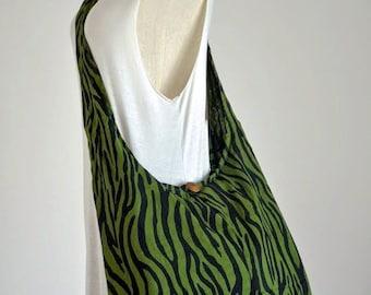 SALE (30%) Hippie Crossbody Bag Boho Bag Cotton Shoulder Bag Diaper Bag Sling Bag Hobo Bag Handbags Messenger Bag Bohemian Bag, Green Zebra