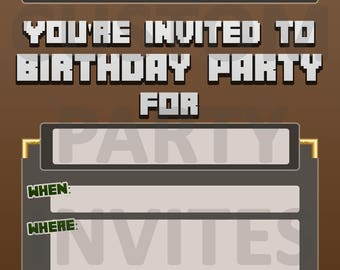 Birthday Party Invitation INSPIRED BY MINECRAFT Invite Personalised Personalized Mine Craft