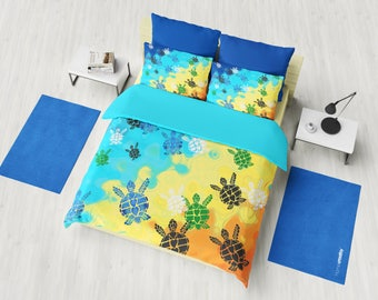 Baby Sea Turtle Duvet Cover or Comforter, bright, blue, yellow, colorful, vibrant coastal surf, orange, bright bedroom decor
